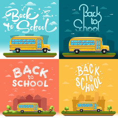 School bus on landscape. Four banners with lettering or calligraphy. Vector illustration