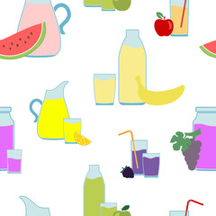 Seamless pattern with Fruit Juice Icons for your design