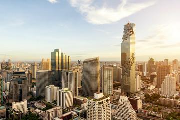 Bangkok city with skyscraper and urban skyline at sunset