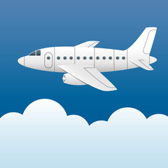 White plane on a background of blue sky and white clouds. Cartoon style. Vector Image.