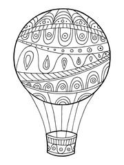 Air balloon pattern abstract graphic art black white doodle illustration vector