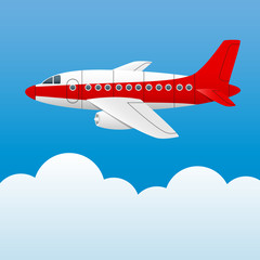 Varicolored plane on a background of blue sky and white clouds. Cartoon style. Vector Image.