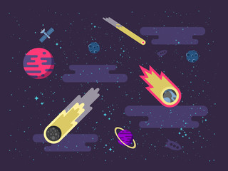 illustration space background with comets, meteorites, stars, planets, nebulae in a flat style