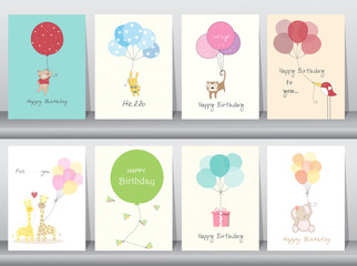 Set of birthday cards,poster,template,greeting cards,sweet,balloons,animals,Vector illustrations