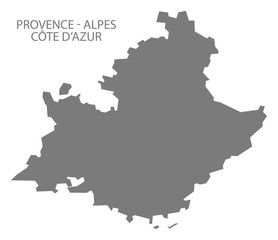 Provence - Alpes - Code d Azur France Map grey
