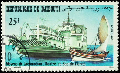 Big ferry and small sailing boat on postage stamp