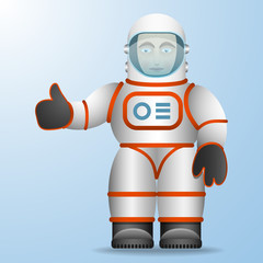 Astronaut in a white suit. Cartoon style. Vector Image.