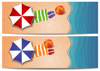 Set of summer travel banners with the sea, waves, sand beach, beach umbrellas, towel, ball and flip flops. Vector template for summer design