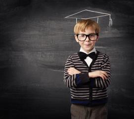 Child Boy Glasses, School Kid Chalk Hat Blackboard, Education