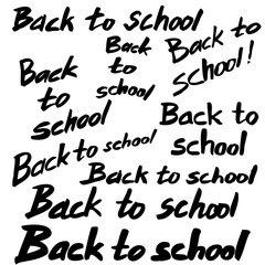 Back to school. A set of hand-made inscriptions. Imitation writing with a soft brush. In black and white. Vector Image.