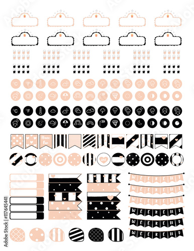 Minimalistic set of elements for creating planner stickers in vintage pink and black set includes