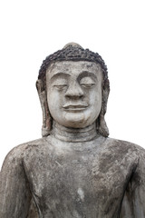 Buddha statue on white background.