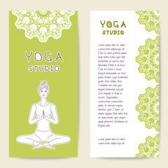 Cards template for spa center, yoga studio, center or class. Beautiful girl yogi. Vector illustration with front and back side. Set of template for poster, flyer, banner, magazine, presentation, logo.