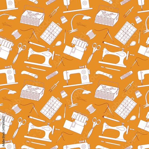vector seamless pattern background sewing tools it can be used for a notebook page