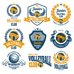 Set of Emblems, Logos and Labels on Volleyball Theme and for Volleyball Club. Colored Vector Illustration. Isolated on White Background.