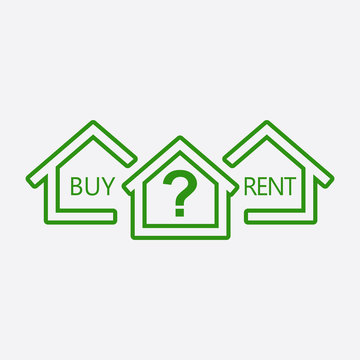 Concept of choice between buying and renting house in line style. Green home icon with the question. Vector illustration in flat style on white background.