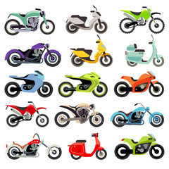 Classic motorcycle motorbike flat vector icons