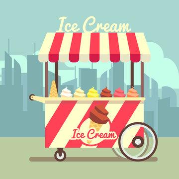 Vector gelato ice cream cart