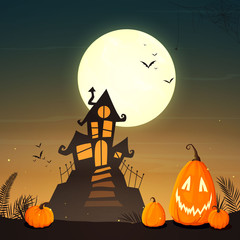 Vector Illustration of a Halloween Poster with a Spooky Haunted House, a Full Moon and Funny Pumpkins