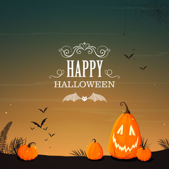 Vector Illustration of a Halloween Poster Background with Funny Pumpkins