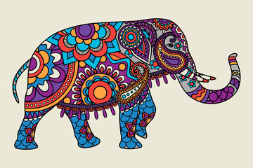 Indian ornate elephant hand drawn colored illistration. Vector illustration