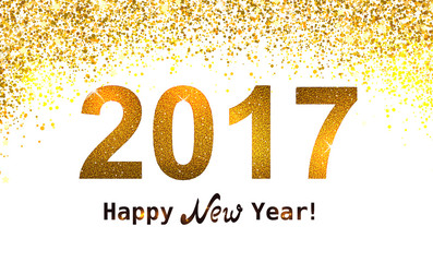 the gold glitter new year 2017 in modern style
