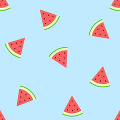Watermelon on  blue background. Juicy bright segments of watermelon seamless pattern. Vector flat illustration