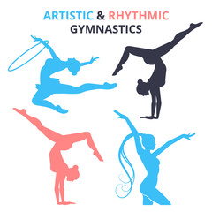 Artistic and rhythmic gymnastics women silhouettes set. Vector illustration