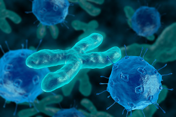 Bacteria invade the chromosome. 3D render virus attacks the chromosomes
