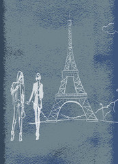 tour Eiffel romantic illustration heart frame drawing water colo