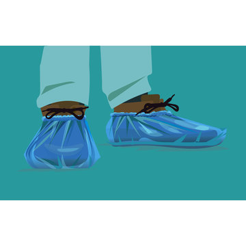 protection on its feet for the hospital, shoe covers cellophane,