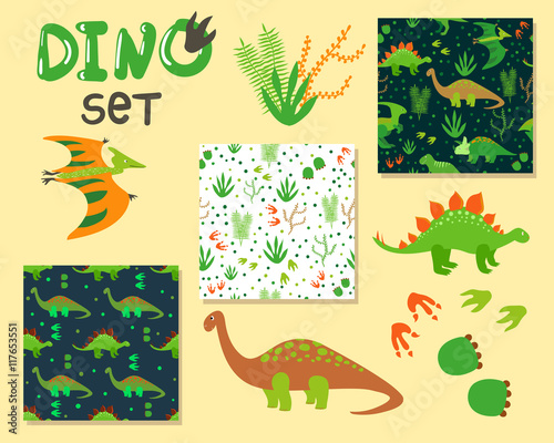 Cute cartoon dinosaurs set. Collection of characters and seanless patterns. Vector illustration.