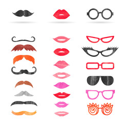 Watercolor mustache, lips and sunglasses set. Birthday party photo booth props. Vector illustration.