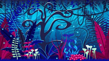 Fanciful jungle at night