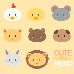 Cute animal head