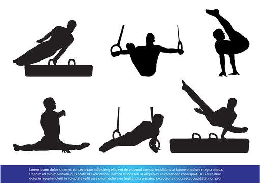 Set of Gymnastics athlete silhouette.