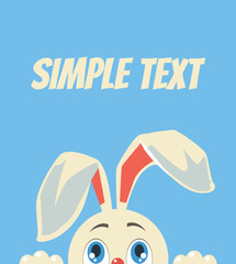 White rabbit character. Vector flat cartoon illustration
