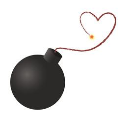 BOMB heart icon , bomb ready to explode , heart attack icon