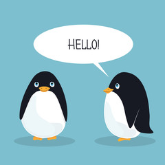 Two ridiculous animation penguins welcome each other. Card. Vector illustration