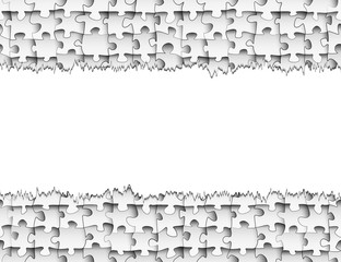 Horizontal strip of paper with torn edges for your design on the background of seamless pattern of puzzle pieces