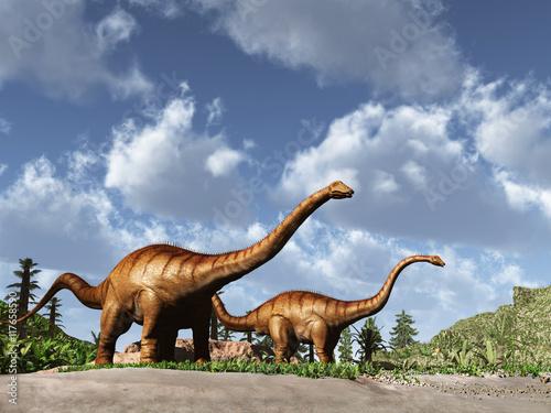 Dos dinosaurios Diplodocus