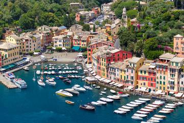 Aerial panoramic view of picturesque harbour of Portofino fishing village on the Italian Riviera, Liguria, Italy.