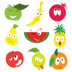 Cartoon apple, banana, pomegranate, pear, watermelon, pineapple, peach, lemon, orange