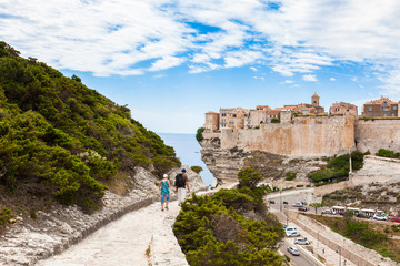 View of Bonifacio old town built on top of cliff rocks, Corsica