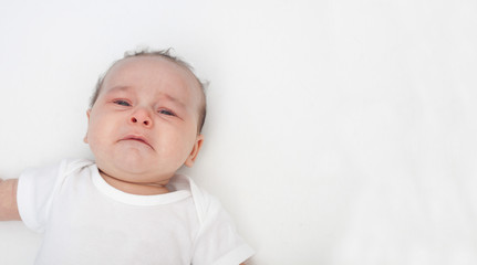 Crying baby with copyspace