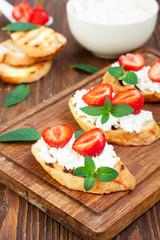 Healthy breakfast - sweet strawberry bruschetta