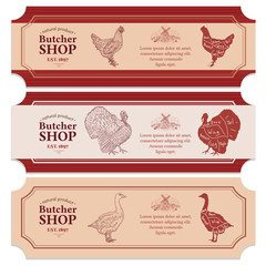 Butcher shop labels meat chicken goose turkey vector banners
