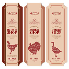 Meat chicken goose turkey butcher shop labels vector banners