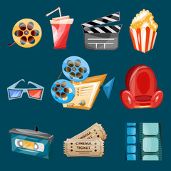 Cinema movie icons cartoon vector