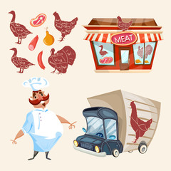 Butcher shop fresh meat cook delivery truck vector set